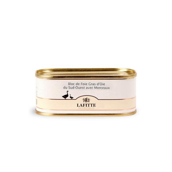 Lata de foie gras de ganso en bloque Lafitte de 130 gramos